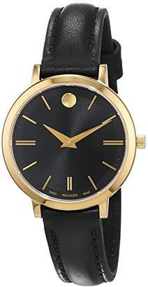 Movado Womens Analogue Classic Quartz Watch with Leather Strap 607095