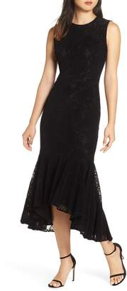 Maggy London Chantilly Velvet Lace Flounce Dress