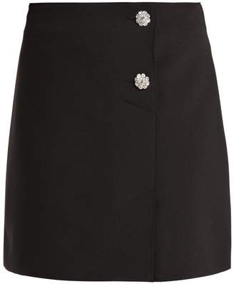 MSGM Crystal-embellished crepe mini-skirt