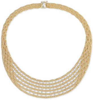 """Italian Gold Two-Tone Brick Link 17"""" Statement Necklace in 14k Gold & White Gold"""