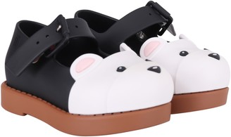 Melissa Black And Beige Girl Ballerina Flats With Bear