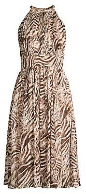 Elie Tahari Women's Dominica Animal Print Halterneck Dress - Size 0