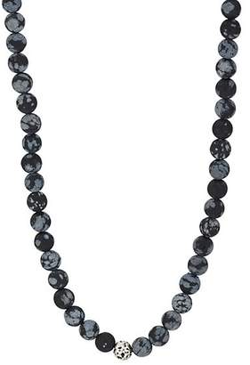 Barneys New York Men's Snowflake Obsedian Beaded Necklace - Black