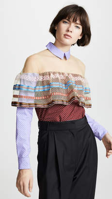 Tata-Naka Tata Naka Shirt with Net Inserts and Frill