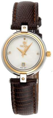 Croton Stainless Steel, 18K Yellow Gold And Leather Quartz 28mm Womens Watch