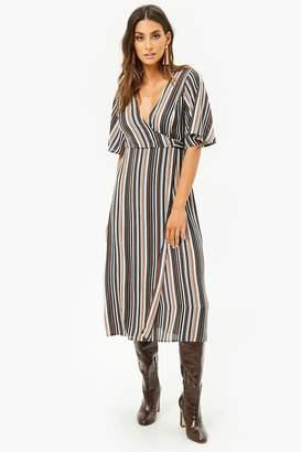 Forever 21 Striped Surplice Midi Dress