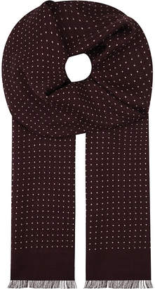 Eton Polka-dot wool-silk scarf