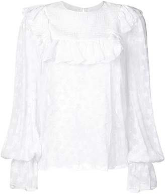 Dondup ruffle trim sheer blouse