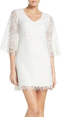 Women's Laundry By Shelli Segal Bell Sleeve Lace Shift Dress $195 thestylecure.com
