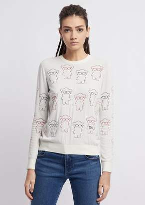 Emporio Armani Sweater In Jacquard With Embroidered Manga Bear
