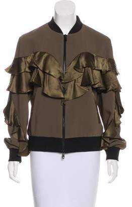 Cinq à Sept Ruffle-Accented Zip-Up Jacket