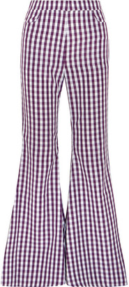 Gingham Poplin Flared Pants - Purple