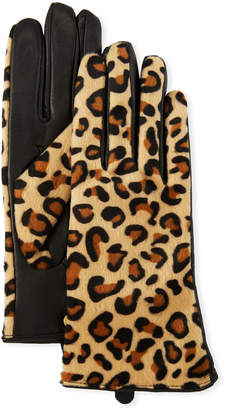 Karl Lagerfeld Leopard-Print Leather Combo Gloves