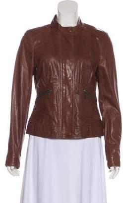 Vince Leather Long-Sleeve Jacket