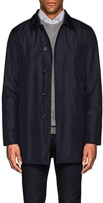 Hettabretz Men's Leather-Trimmed Silk Poplin Jacket