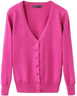 Classic Pink Women's Basic Cardigan V Neck Knit Spring Button Down Long Sleeve Sweater Outwear M
