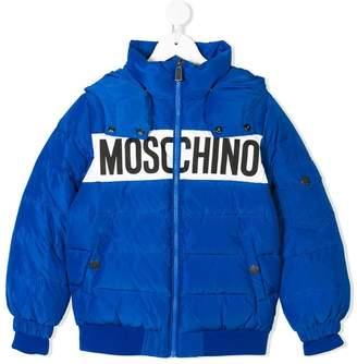 Moschino Kids logo print puffer jacket