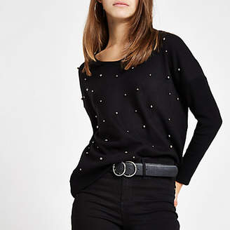 River Island Petite black hacci pearl embellished sweater