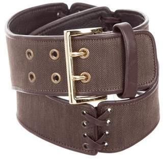 Oscar de la Renta Woven Lace-Up Belt
