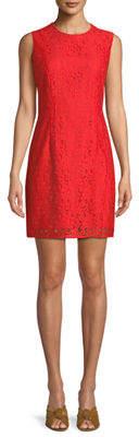 Diane von Furstenberg Sleeveless Tailored Lace Sheath Dress