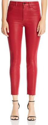 Joe's Jeans Charlie Coated Ankle Skinny Jeans in Ruby Red