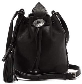 Saint Laurent Anja Flower Stud Leather Bucket Bag - Womens - Black