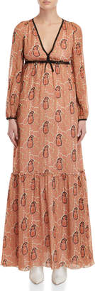 Giamba Paisley Print Empire Waist Maxi Dress