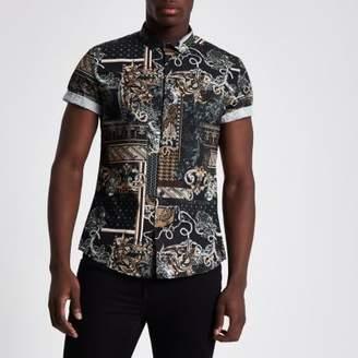 River Island Black baroque slim fit short sleeve shirt