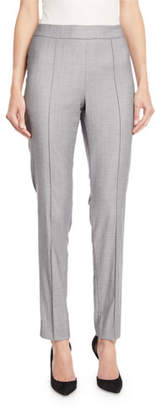 St. John Shark Skin Skinny Ankle Pants w/ Pintucking
