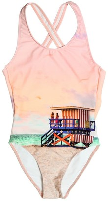 Finger In The Nose Lifeguard Print Lycra One Piece Swimsuit