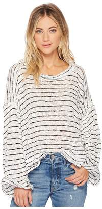 Free People Striped Island Girl Hacci Women's Long Sleeve Pullover