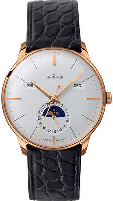 Junghans 027/7203.01 meister leather and gold-plated calendar watch