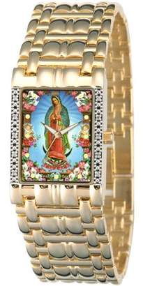 Generic Men's Our Lady of Guadalupe Square Diamond Bracelet Watch, Gold