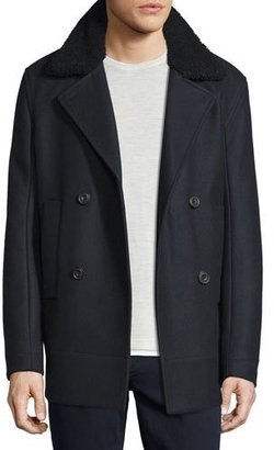 Vince Melton Wool-Blend Pea Coat w/Shearling Collar, Navy $795 thestylecure.com