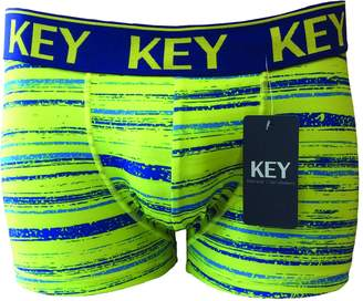 KEY Underwear KEY Men's Underwear, Premium Quality, Ultra Soft Fabric, Great Fit, Polyester/Spandex, Lime Green/Blue Print