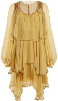 Chloé Velvet-trimmed silk-crepon dress