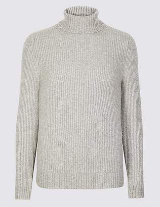 Marks and Spencer Supersoft Roll Neck Jumper with Wool