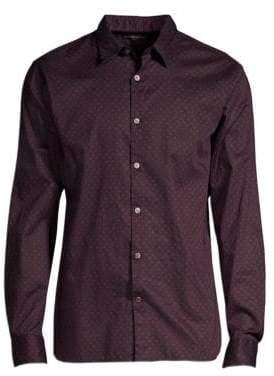 John Varvatos Men's Long Sleeve Button-Down Shirt - Red Clay - Size Small