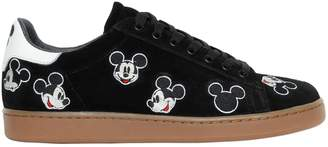 Mickey Mouse Embroidered Suede Sneakers