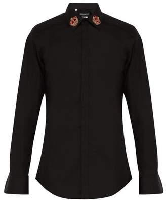 Dolce & Gabbana Martini Slim Fit Crown Embroidered Shirt - Mens - Black