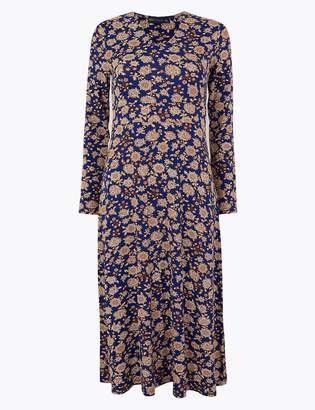 Marks and Spencer Floral Print Jersey Fit & Flare Midi Dress
