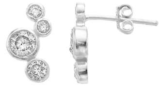 The Finer Things Cubic Zirconia Sterling Silver Cluster Earrings