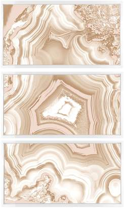 Oliver Gal AdoreGeo Marble Camel Abstract Triptych (Framed Canvas)