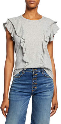 Veronica Beard Bea Short-Sleeve Crewneck Ruffle Tee