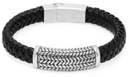 Jean Claude Herringbone Pendant Braided Leather Bracelet