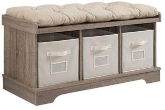 Walker Edison 42 Wood Storage Bench With Totes and Cushion