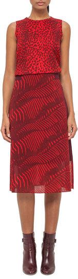 AkrisAkris Zebra-Print A-Line Midi Skirt, Pomegranate