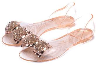 fd78142eb clear Zvgdght Fashion Jelly Flat Shoes Women Sandals Bowtie Peep Toe Soft Women  Casual Sandals Crystal