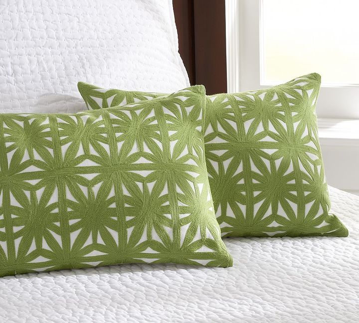 Daisy Chainstitch Embroidered Boudoir Pillow Cover
