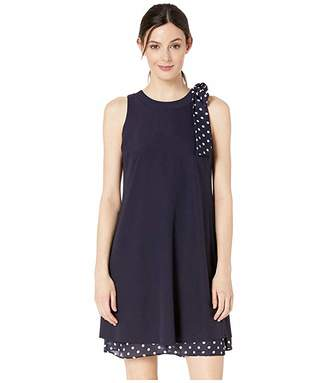 Tahari ASL Stretch Crepe Dress with Polka Dot Bow Shoulder and Hemline